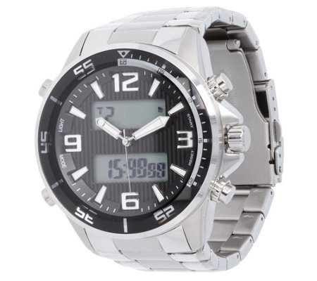 Stainless Steel Bold Digital Panther Link WatchMen's