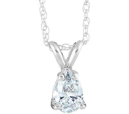 Affinity 1 ct Pear Diamond Pendant w/ Chain, 14K White Gold