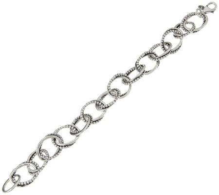 "Or Paz Sterling Silver 6-3/4"" 24.0g Multi-Textured Link Bracelet"