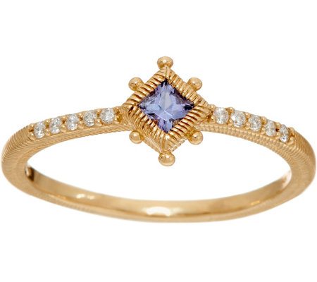 Judith Ripka 14K Gold Gemstone & Diamond Ring