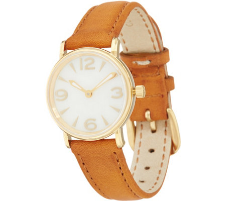 Vicence Round Case Leather Strap Watch 14k Gold