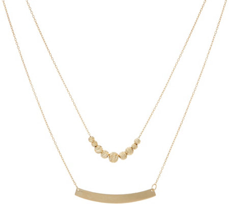 14K Gold Double Layer Necklace