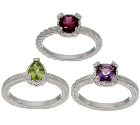 Judith Ripka Sterling Set of 3 Gemstone Rings