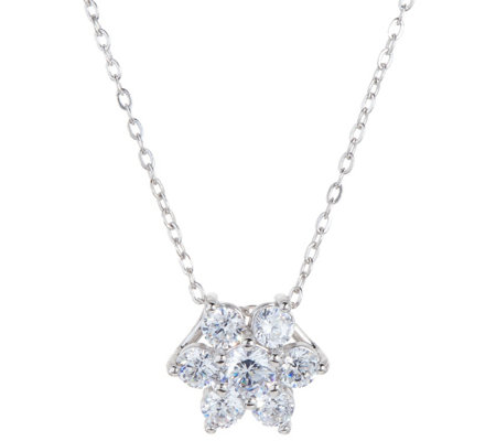 """As Is"" Diamonique Floral Cluster Pendant, Sterl. or 14K Clad"