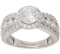 Diamonique Halo Design Graduated Band Ring, Sterling - J354291