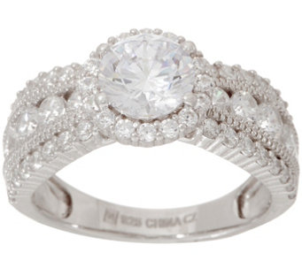 Diamonique Halo Design Graduated Band Ring Sterling J354291