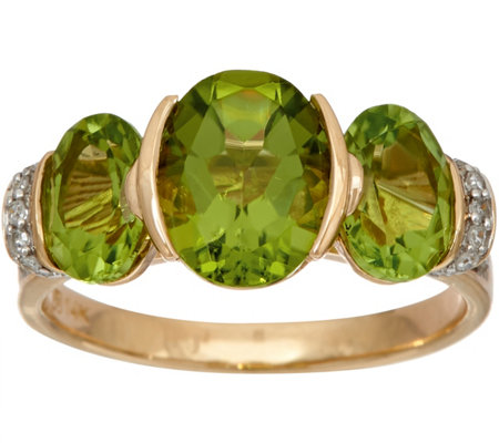 """As Is"" Oval 3- Stone Peridot & Diamond Ring 14K Gold 3.00 cttw"