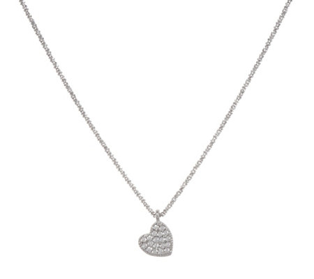 "Diamonique Pave' Set Heart Pendant with 18"" Chain, Sterling"