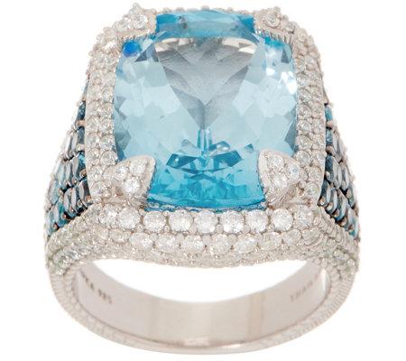 6ebcf3b8e4df1 Judith Ripka Sterling Silver Blue Topaz & Diamonique Cocktail Ring — QVC.com