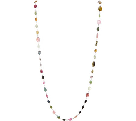 "Colors of Tourmaline 36"" Station Necklace Sterling"