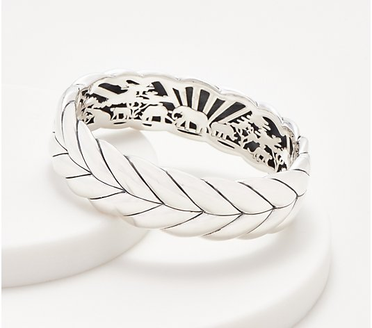 JAI Sterling Silver Wide Basketweave Bangle, 67.7g