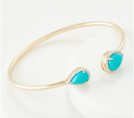 Turquoise & White Zircon Flexible Cuff, 14K Gold, Large