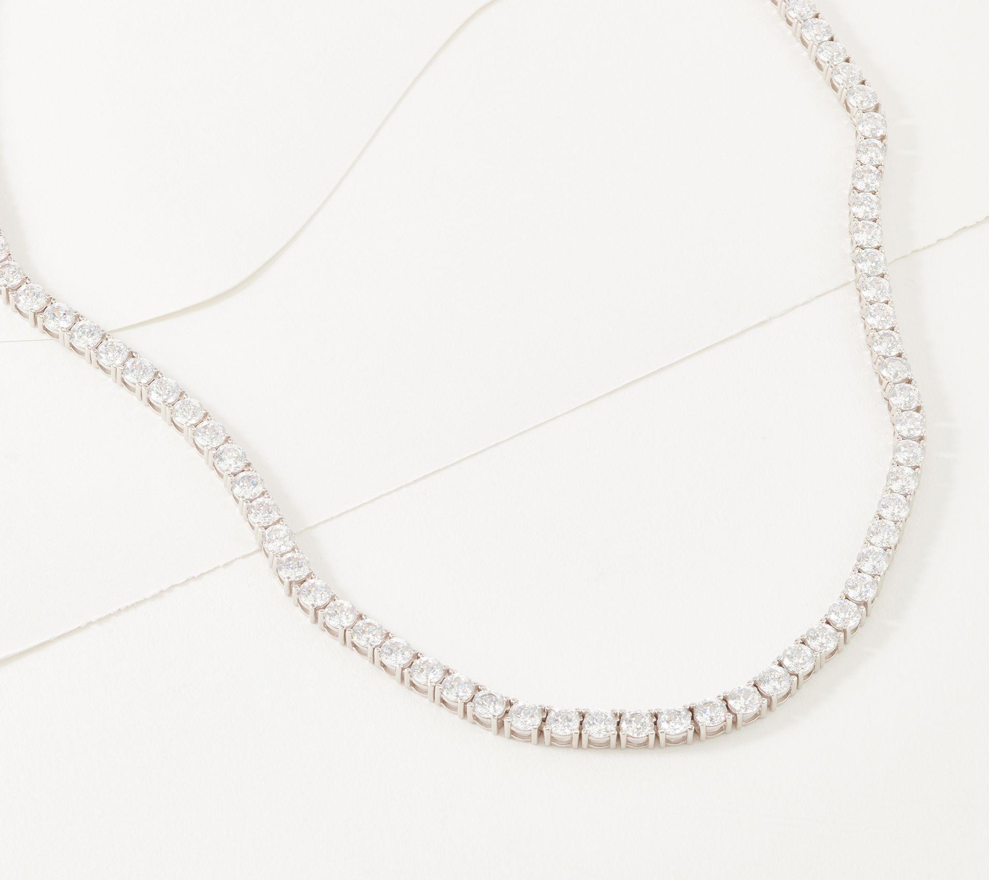 Diamonique 100 Facet 20 Tennis Necklace Platinum Clad Qvc Com