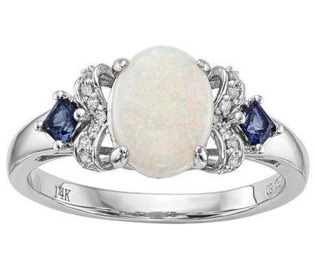14K White Gold Austrian Opal, Blue Sapphire & Diamond Ring
