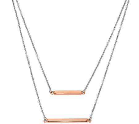 Sterling Double Bar Necklace, 7.3g by Silver Style