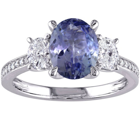 2.00 ct Tanzanite & 1/2 cttw Diamond Ring, 14K