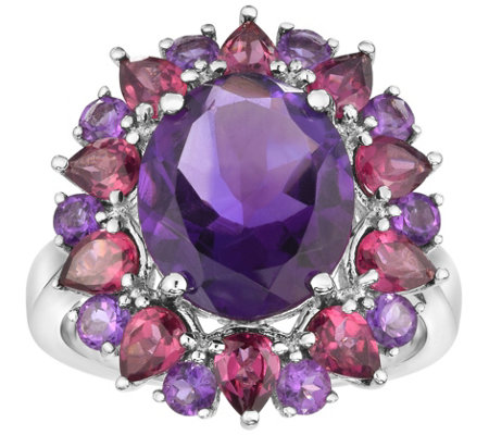 Sterling 9.00 cttw Oval Amethyst & Rhodolite Halo Ring