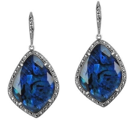 Suspicion Sterling Blue Abalone Marcasite Halo Earrings