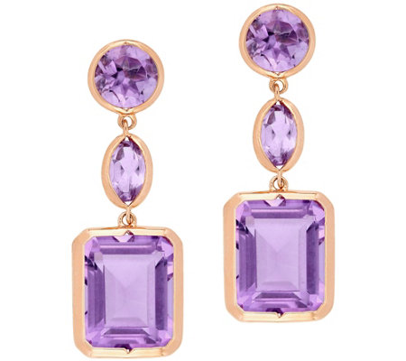 Sterling & 14K 11.50 cttw Gemstone Dangle Earrings