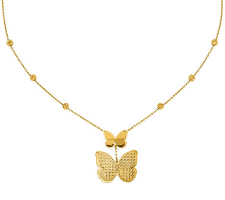 Italian Gold Butterfly Dangle Necklace 14k Gold 5 8g