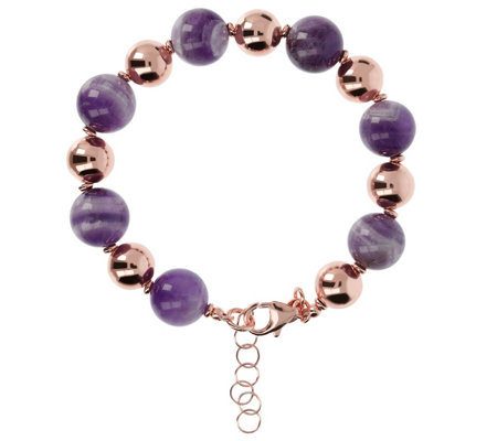 Bronzo Italia Gemstone Alternating Bead Bracelet