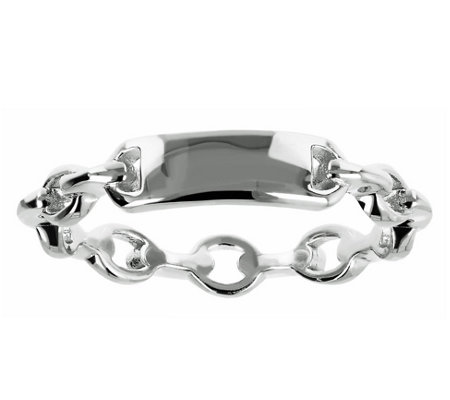 Italian Silver Polished Oval Link Ring