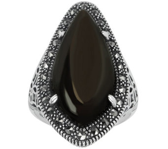 Suspicion Sterling Pear Brown Sapphire & Marcasite Ring - J388291