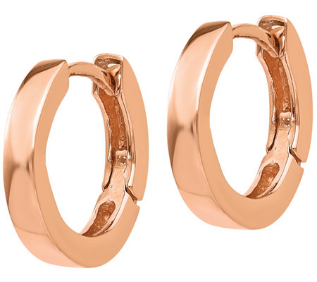 14k Rose Gold Huggie Hoop Earrings