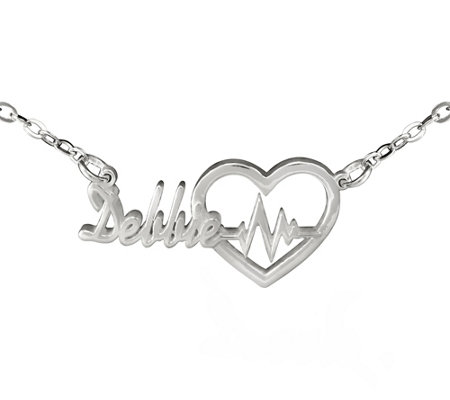 Sterling Personalized Heartbeat Name Necklace