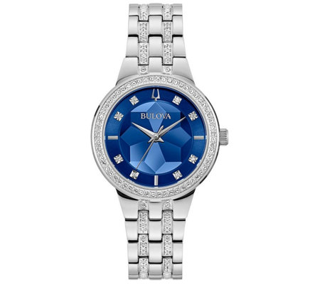 Bulova Women's Stainless Steel Blue Faceted Dial Watch
