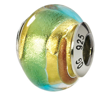 Prerogatives Sterling Gold & Green Italian Murano Glass Bead