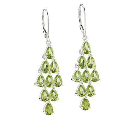 6 65 Ct Tw Peridot Elongated Sterling Dangle Earrings