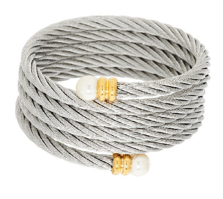 Stainless Steel Multi-Wrap Cable Bracelet w/Simulated Endcaps
