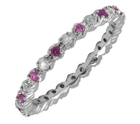 Simply Stacks Sterling Amethyst & Diamond Stackable Ring