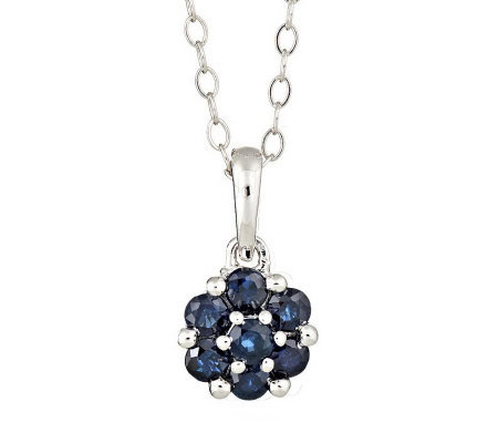 "Sterling 0.55 cttw Sapphire Flower Pendant with18"" Chain"