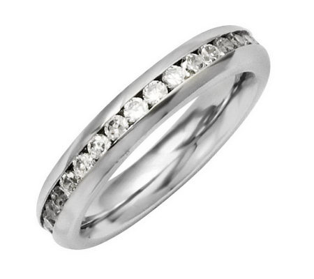 Stainless Steel Birthstone Eternity Band Ring