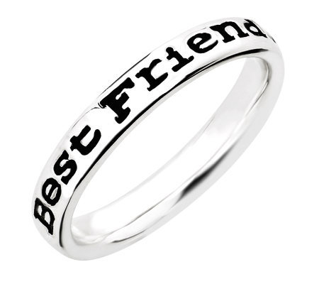 "Simply Stacks Sterling Enamel ""Best Friends"" Band Ring"