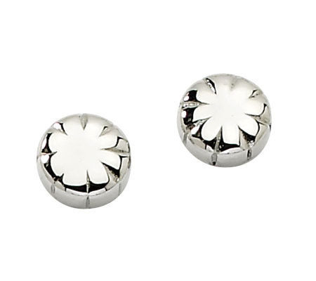 Stainless Steel Polished Floral Stud Earrings