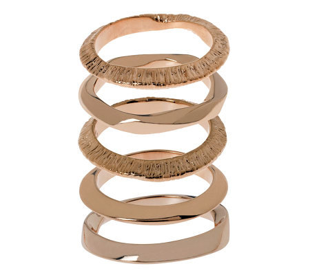 Bronzo Italia Set of 5 Polished & Textured Stack Rings