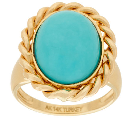 14K Gold Polished Turquoise Ring with Woven Border