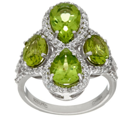 """As Is"" Graziela Gems Peridot & White Zircon Sterling Ring 3.90 cttw"