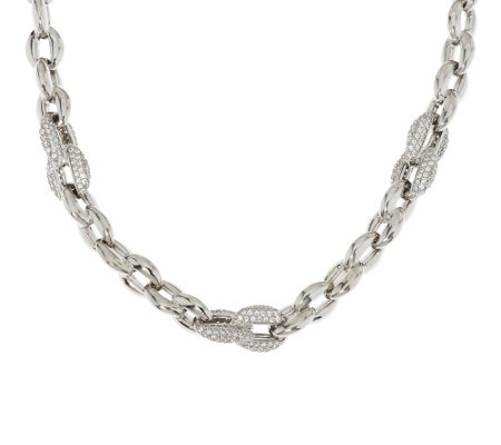 """As Is"" Italian Silver Sterling 18"" Diamonique Polished Rolo Link Necklace"
