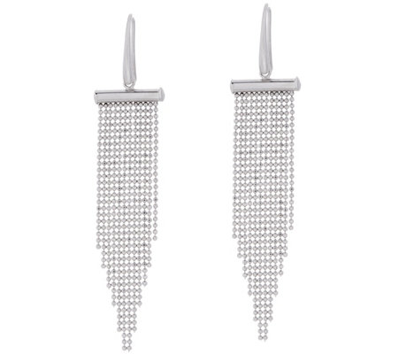 Italian Silver Sterling Diamond Cut Bead Dangle Earrings
