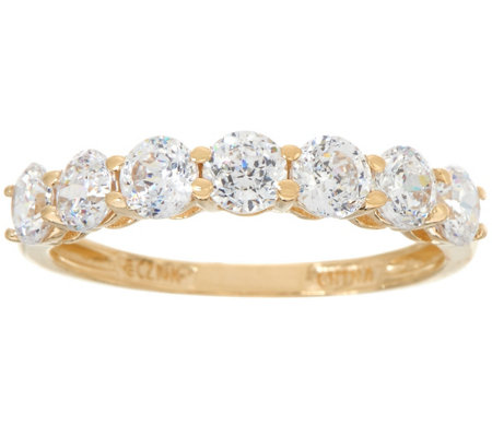 Diamonique 7 Stone Band Ring 14K Gold Page 1 — QVC