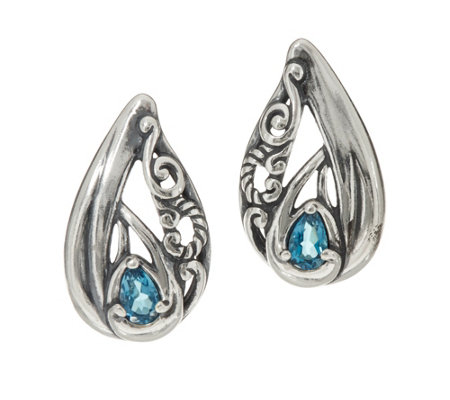 Carolyn Pollack Sterling Silver Pear Shape Gemstone Earrings