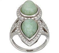 Pear Shaped Jade Elongated Sterling Ring - J348792