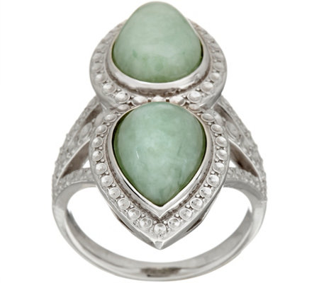 Pear Shaped Jade Elongated Sterling Ring