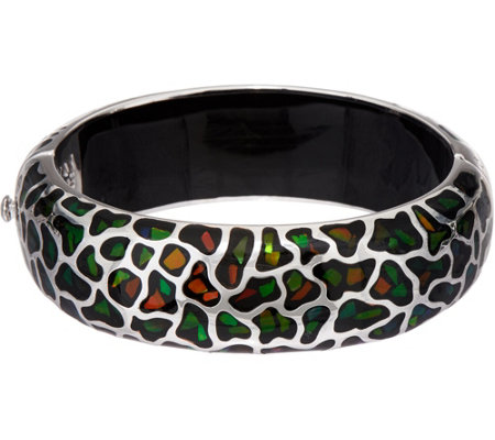 Ammolite Mosaic Sterling Silver Oval Hinged Bangle