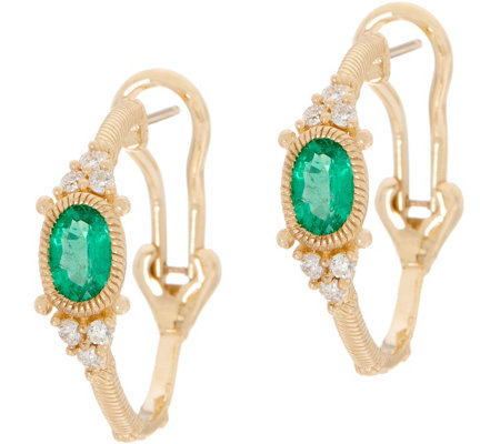 Judith Ripka 14K Gold Ruby, Emerald, or Sapphire Hoop Earrings