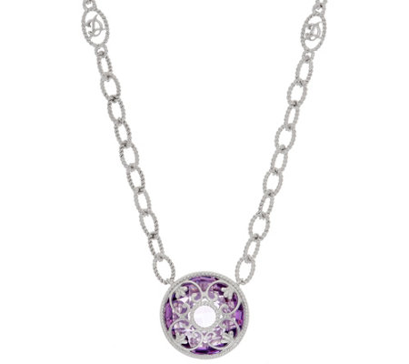 DeLatori Sterling Silver Gemstone Necklace with Overlay Design